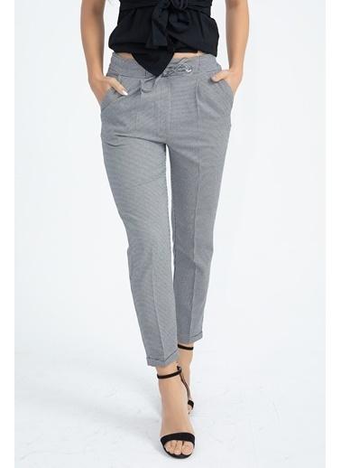 Vpr Moda Kuşgözlü Bağcıklı Ekose Pantolon Gri